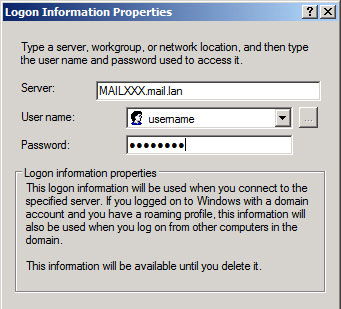 Advanced User Dialog Save Passwords